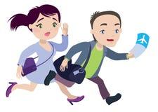 El hombre y la mujer están corriendo tarde para el avión Fotografía de archivo libre de regalías