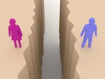 El hombre y la mujer partieron en las caras, grieta de la separación. ilustración del vector
