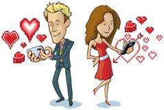 El hombre y la mujer que mandan un SMS con los corazones del pixel vector el coche Foto de archivo libre de regalías