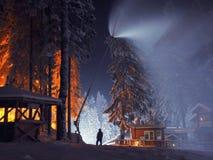 El hombre y la nieve Fotografía de archivo
