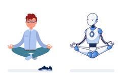 El hombre y el robot hacen la yoga junta imagenes de archivo
