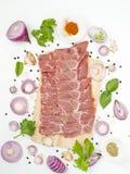 El hombro de cerdo crudo con la condimentación condimenta la comida japonesa y asiática Foto de archivo libre de regalías