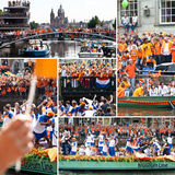 El honrar de las personas de f?tbol holandesas imagen de archivo libre de regalías