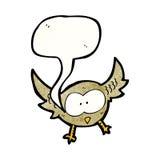el hooting del pequeño búho de la historieta Imagen de archivo libre de regalías