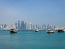 El horizonte de Doha, Qatar Foto de archivo