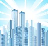 El horizonte de la ciudad con luz del sol y vario apartamento moderno se eleva stock de ilustración
