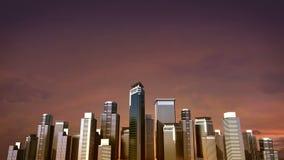 El horizonte de la ciudad del edificio de la construcción y hace la ciudad en la animación Puesta del sol 3d stock de ilustración