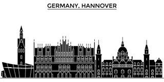 El horizonte de la ciudad del vector de la arquitectura de Alemania, Hannover, paisaje urbano del viaje con las señales, edificio ilustración del vector