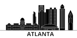 El horizonte de la ciudad del vector de la arquitectura de Atlanta, paisaje urbano del viaje con las señales, edificios, aisló vi Imagen de archivo libre de regalías