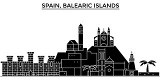 El horizonte de la ciudad del vector de la arquitectura de España, islas de Balearis, paisaje urbano del viaje con las señales, e stock de ilustración