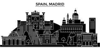 El horizonte de la ciudad del vector de la arquitectura de España, Madrid, paisaje urbano del viaje con las señales, edificios, a libre illustration