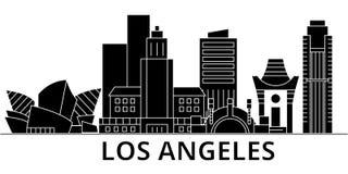 El horizonte de la ciudad del vector de la arquitectura de Los Ángeles, paisaje urbano del viaje con las señales, edificios, aisl