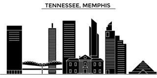 El horizonte de la ciudad del vector de la arquitectura de los E.E.U.U., Tennessee, Memphis, paisaje urbano del viaje con las señ stock de ilustración