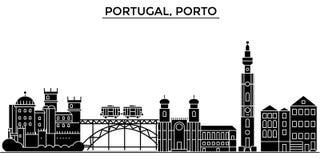 El horizonte de la ciudad del vector de la arquitectura de Portugal, Oporto, paisaje urbano del viaje con las señales, edificios, Fotografía de archivo libre de regalías