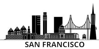 El horizonte de la ciudad del vector de la arquitectura de San Francisco, paisaje urbano del viaje con las señales, edificios, ai ilustración del vector