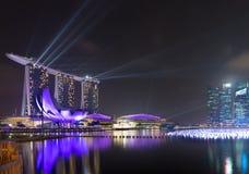 El horizonte de Singapur antes de la celebración anual del Año Nuevo Imagenes de archivo