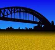 El horizonte de Sydney con el dólar de oro acuña el ejemplo del primero plano Imagenes de archivo