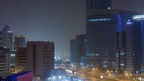 El horizonte del área del oeste de la bahía del top en el timelapse de Doha, Qatar metrajes
