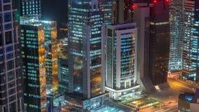 El horizonte del área del oeste de la bahía del top en el timelapse de Doha, Qatar almacen de metraje de vídeo