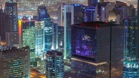 El horizonte del área del oeste de la bahía del top en el timelapse de Doha, Qatar almacen de video