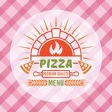 El horno del ladrillo con la llama y la pizza corta vector stock de ilustración