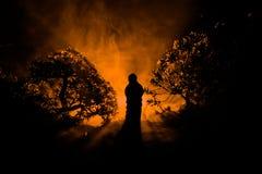 El horror Halloween adornó imagen conceptual Muchacha sola con la luz en el bosque en la noche Silueta de la muchacha que se colo Foto de archivo