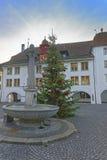El hotel de Rathaus y el árbol de navidad y la fuente en Thun ajustan Foto de archivo libre de regalías