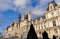 El hotel de Ville en París Imagen de archivo