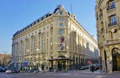 El hotel del palacio de Westin de la señal en Madrid, España Imagen de archivo