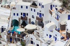 El hotel en Santorini, Grecia Imagenes de archivo