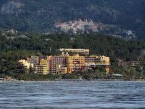 El hotel turco en la costa mediterránea entre Marmaris y Gokova aúlla cerca de la isla de Baba Adasi Club Seno europa Mediter fotos de archivo libres de regalías