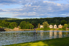 El Hudson y el río del Mohawk ven la reunión en Livingston NY Foto de archivo libre de regalías