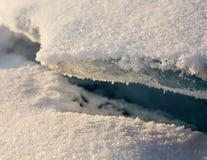 El hueco entre los bloques de hielo Invierno imagen de archivo libre de regalías
