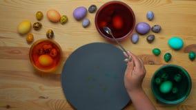 El huevo de codornices se sumerge en un tinte rojo almacen de video