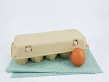 El huevo de gallina fresco con la caja de papel del panel foto de archivo libre de regalías