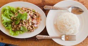 El huevo picante de la ensalada de la hormiga y del arroz blanco tratado con vapor Imágenes de archivo libres de regalías