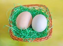 El huevo verde claro del pato y el pollo marrón claro egg, la cesta marrón w Foto de archivo libre de regalías