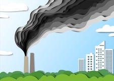 El humo de la fábrica va hacia la ciudad Venenos de la contaminación atmosférica Salvo su hogar Vector Ejemplo del corte del pape stock de ilustración