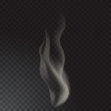 El humo delicado del cigarrillo agita en fondo transparente Imagen de archivo libre de regalías