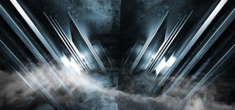 El humo empaña el hormigón brillante ultravioleta azul de neón del metal de la nave espacial de Sci Fi del triángulo que brilla i ilustración del vector