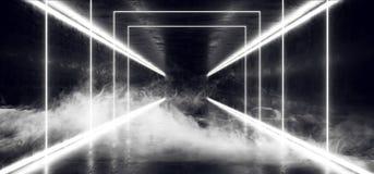 El humo empaña la trayectoria moderna futurista oscura de Hall Reflective Neon Glowing Sci Fi del Grunge del vapor del ladrillo d ilustración del vector
