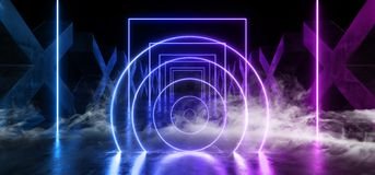 El humo empaña la trayectoria moderna futurista oscura formada círculo concreto de Hall Reflective Neon Glowing Sci Fi del túnel  libre illustration