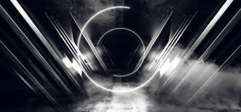 El humo empaña el triángulo virtual futurista blanco de neón del extracto de la nave espacial de Sci Fi del círculo que brilla in libre illustration