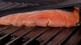 El humo sube sobre los salmones en la parrilla metrajes