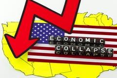 El hundimiento de la economía de los E.E.U.U. Fotos de archivo libres de regalías