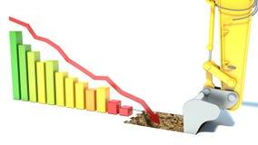 El hundimiento del negocio. caiga abajo la flecha ilustración del vector