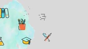 El icono académico plano de la educación escolar de la animación inconsútil tal como matemáticas y la ciencia en muchos temas en  stock de ilustración