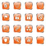 El icono anaranjado del Web fijó 3 Imágenes de archivo libres de regalías