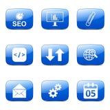 El icono azul de SEO Internet Sign Square Vector fijó 6 Fotografía de archivo