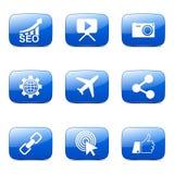 El icono azul de SEO Internet Sign Square Vector fijó 1 Imagen de archivo